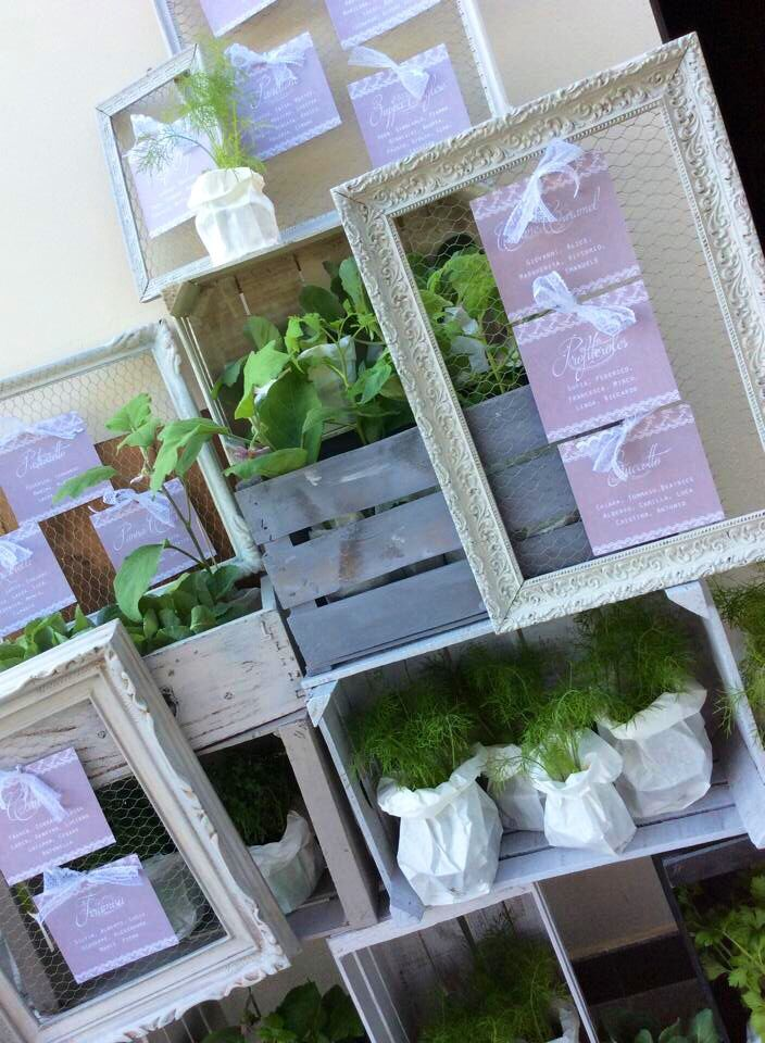 Eco vintage and chic escort card setting