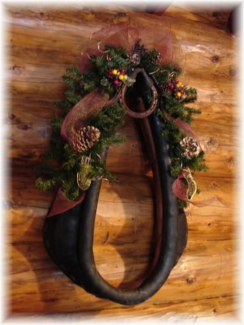 Wreaths for all seasons at CCL Ranch Decor.com.  One of our smaller wreaths would also look nice in the center of the horse collar.: