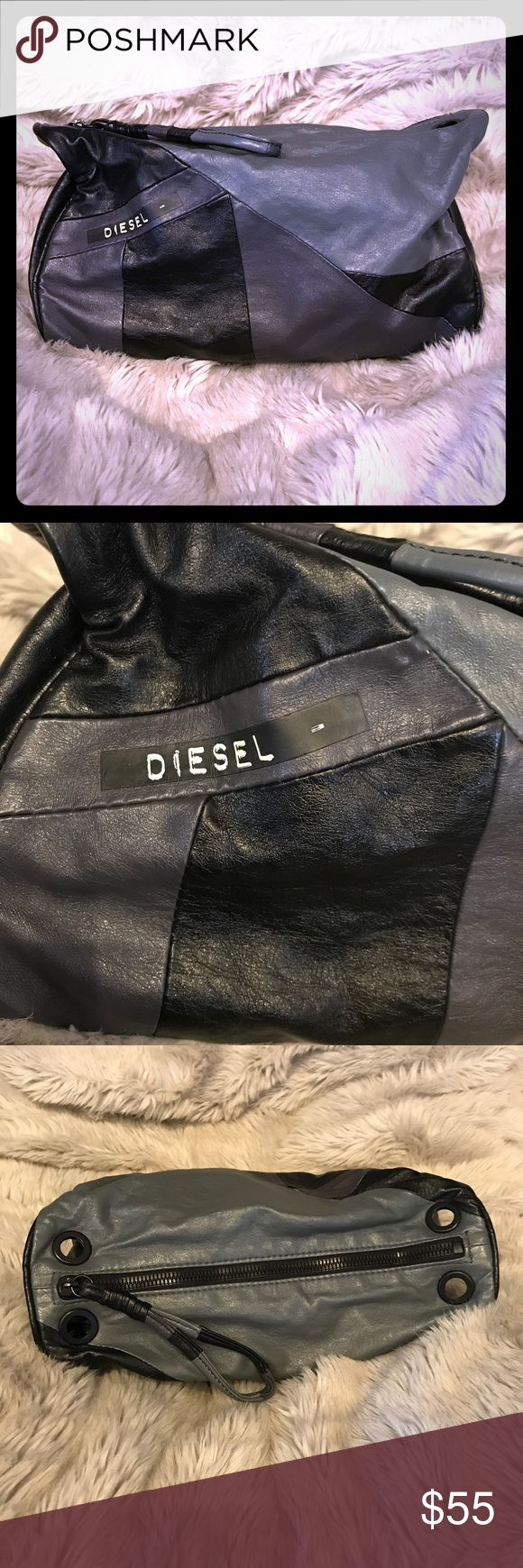 """Vintage Diesel Clutch or Wristlet Bag Vintage from early 90s. Exterior is in excellent condition. Interior shows some wear from carrying makeup. Cool retro look. No straps. It didn't come w straps. Measures 9"""" L x 11"""" W Diesel Bags Clutches & Wristlets"""