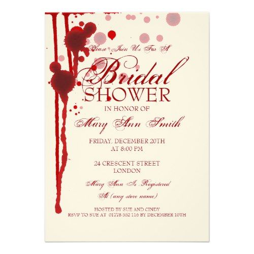 Vampire Halloween Bridal Shower Fake Blood Red Custom Announcements