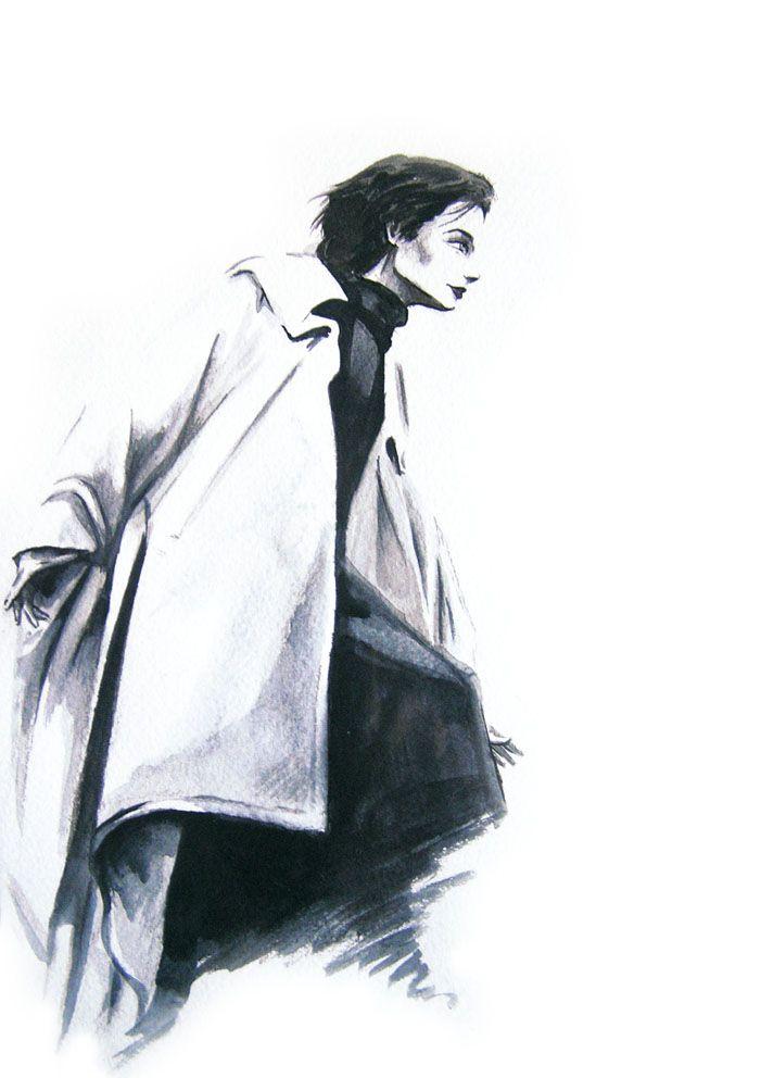 Figurin moda. Abrigo blanco. Acuarela