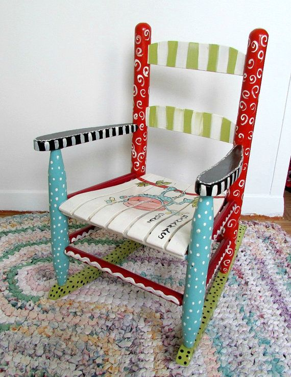 Painted child rocking chair painted furniture by