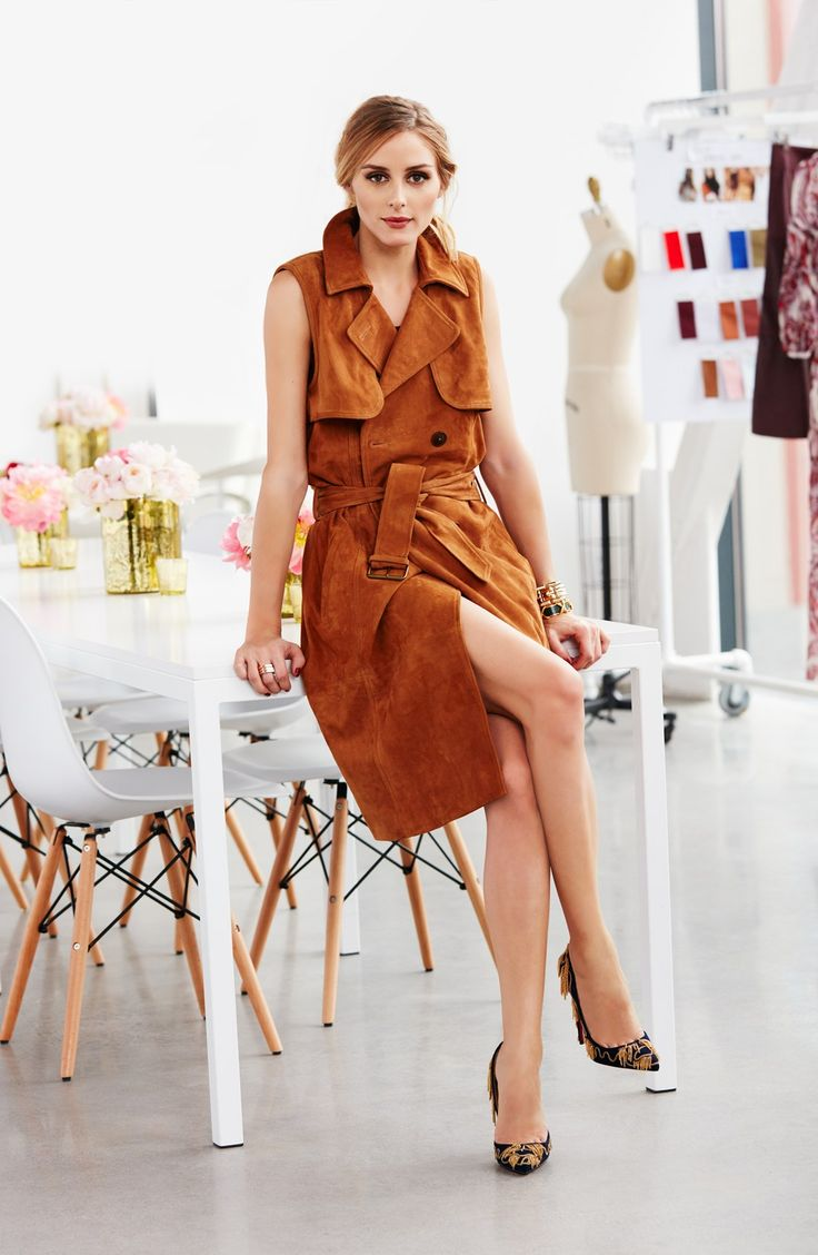 Olivia Palermo + Chelsea28 Sleeveless Suede Trench Dress