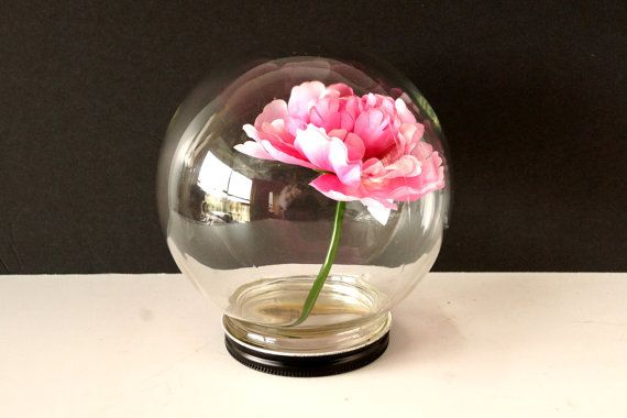 Vintage Glass Globe Flower Aquarium / Terrarium with Base - Looks like a crystal ball, Unique Display Dome, Mother's Day Gift