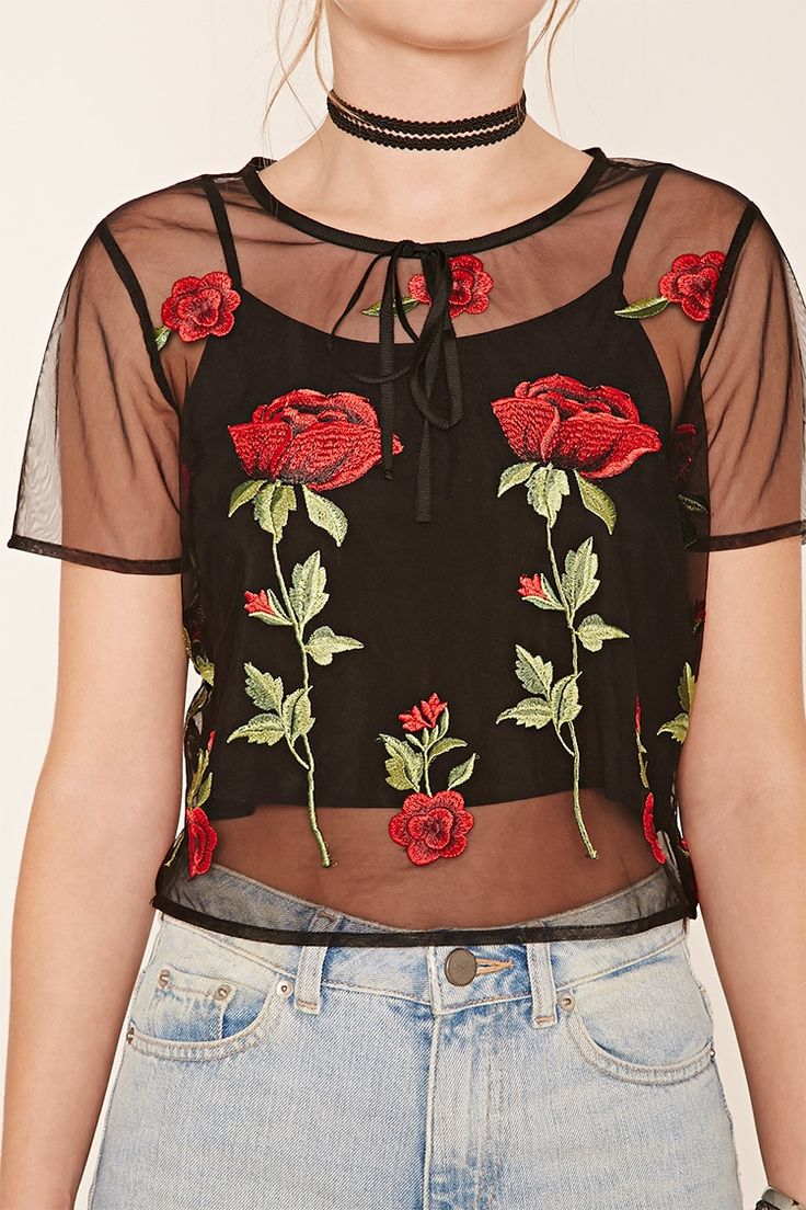 Contemporary Floral Mesh Top | Forever 21 - 2000221006