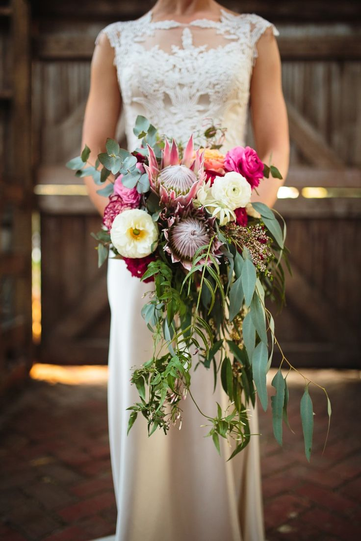 Stunning Cascading Protea Bridal Bouquet // Photography ~ Pierre Curry