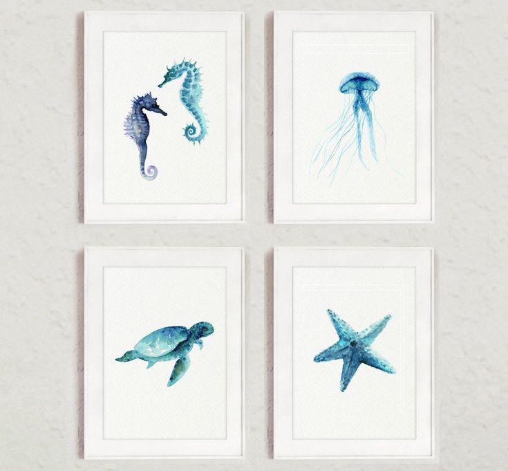 Oceanic Life Set of 4, Seahorse Painting, Sea Turtle, Starfish Home Decor, Sea Urchin Art Print, Blue Nursery Decor, Kids Room Painting by ColorWatercolor on Etsy