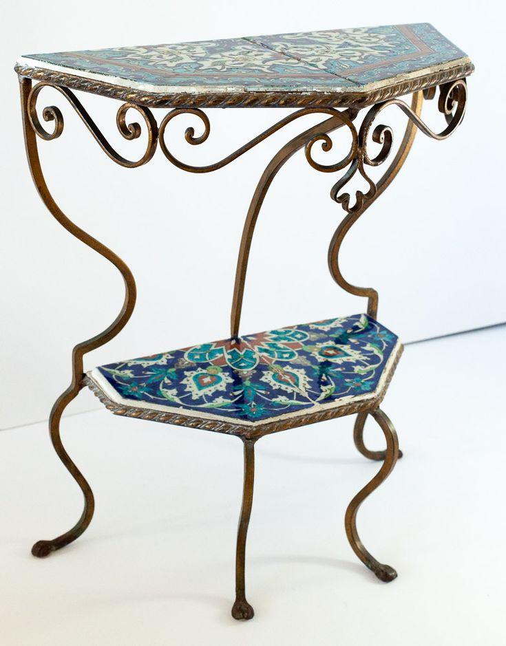 Turkish Iznik Wrought Iron Table   Curious Clay