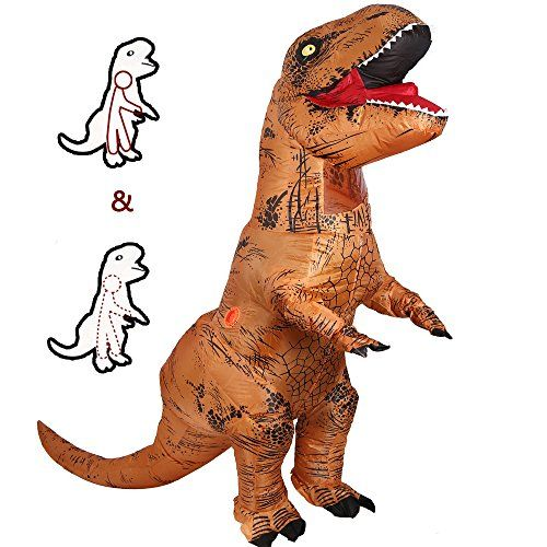 T-Rex Dinosaur Inflatable Costume Halloween Cosplay Blowup Outfit Fancy Dress For Adult (Brown) - T-Rex Dinosaur Inflatable Costume Halloween Cosplay Blowup Outfit Fancy Dress for Adult Suitable for Weddings, Halloween, Christmas, Festivals, Birthday Party, Cos Play Parks, Zoo, Outdoors, Company Celebration or Annual Party, Bars, Club, TV SHOW, Carnival, Opening Ceremony, etc Product Attenti...
