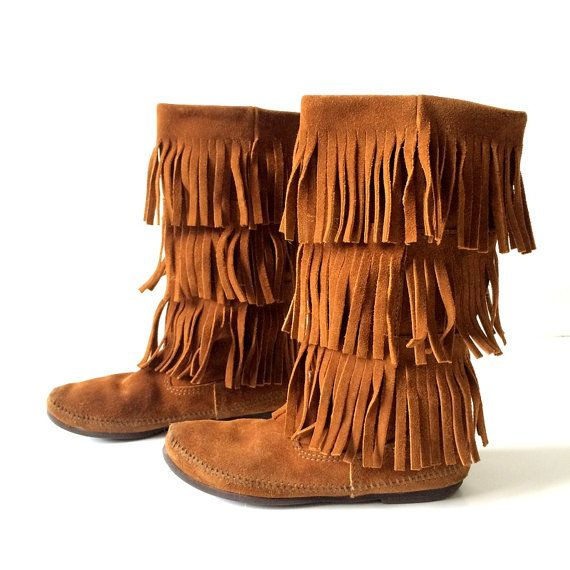 Minnetonka Brown Tan Suede Leather Fringe Boots Size 7
