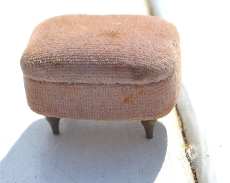 MID CENTURY MODERN Ottoman Seat Cushioned Shabby Chic Pink Velvet with four Brass Legs by StudioVintage on Etsy