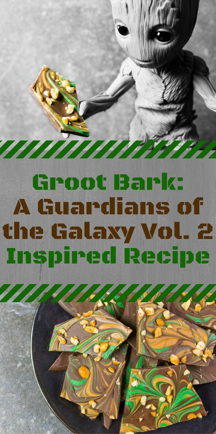 Marvel Recipes | Guardians of the Galaxy Recipes | Chocolate | Inspired by Baby Groot and the home release of Guardians of the Galaxy Vol. 2, The Geeks have created a salty and sweet snack, Groot Bark! [ad] 2geekswhoeat.com