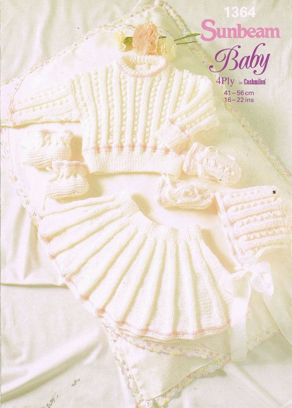Sunbeam 1364    baby jumper skirt suit vintage knitting pattern    16 - 22 inch chest sizes    4 ply knitting wool    PDF INSTANT Download