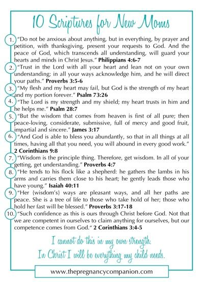 We have so many expectant mamas (and some with brand new babies) in our community, I felt led to follow up my 10 Scriptures for Fighting Fear in Pregnancy post with 10 Scriptures for New Moms. After all, scripture is our best defense against fear, stress, confusion, sleep deprivation. . .you name it. So friends, …