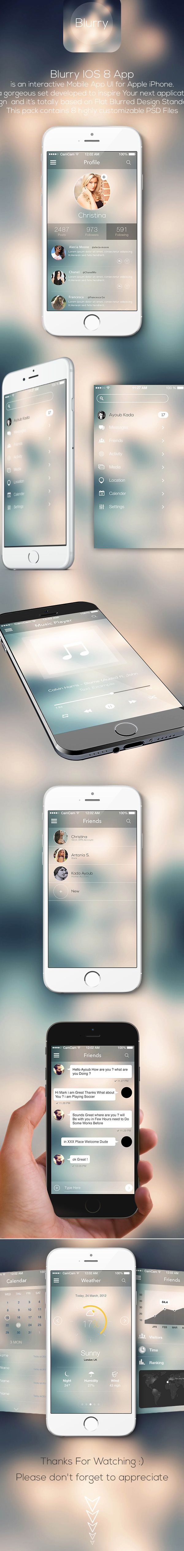 Blurry IOS8 Mobile App Ui on Behance