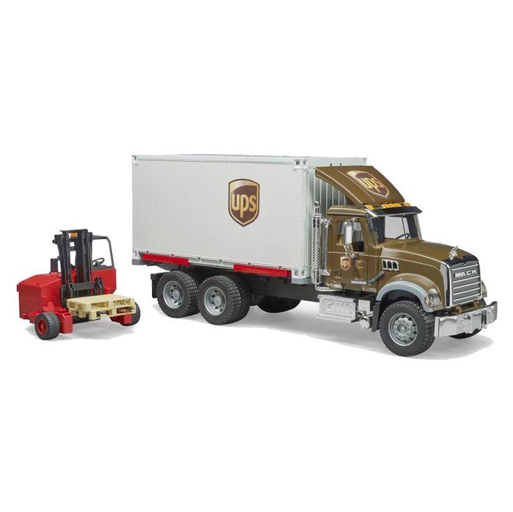 1 16 Mack Granite Ups Truck With Forklift By Bruder Trucks Forklift Lego Truck