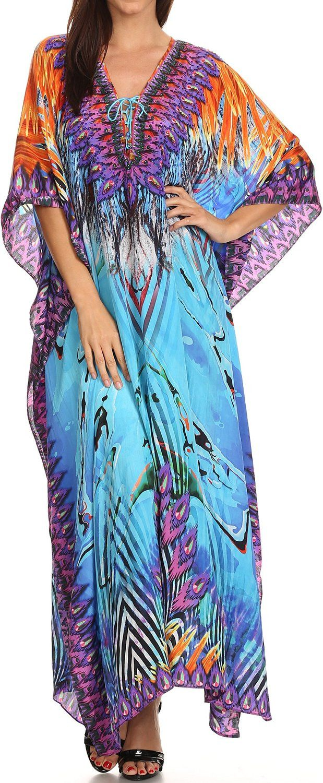 Sakkas Georgettina Ligthweight Printed Long Caftan Dress / Cover Up