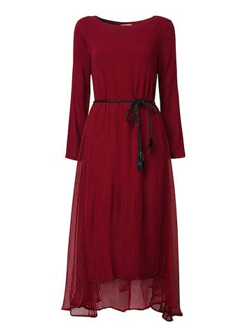 Vintage Women Fake Two Pieces Long Sleeve Long Maxi Dress Shopping Online - NewChic