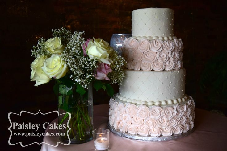 Quilted Buttercream and Buttercream Rosette wedding cake. Made by Paisley Cakes, Blackfoot Idaho.