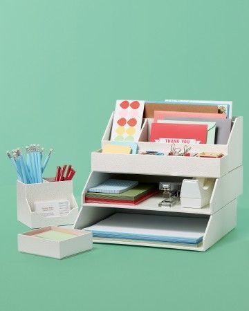 Make sure your child has a clean, clutter-free space to study. Stack + Fit desk accessories provide the perfect home for pencils, calculators, and paper.Shop Martha Stewart Home Office Stack+Fit Accessories