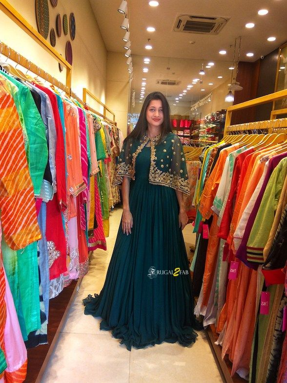 Love this gorgeous bottle green gown with gold cape by Zari Jaipur #Frugal2Fab