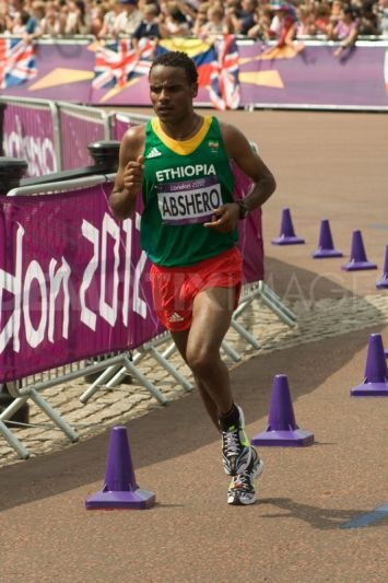 Ethiopian Athlete Ayele Abshero passes the 18 mile mark in the 2012 Olympic Marathon. Although one of the favourites, he failed to finish the race.