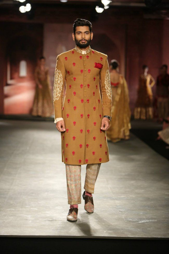 Anju Modi at India Couture Week 2014 - mustard green and red men's sherwani kurta