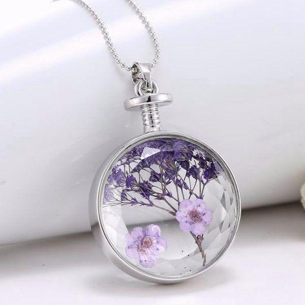 Trendy Round Glass Dried Flower Women Necklace Alloy