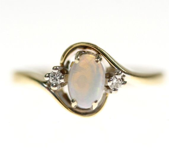 Vintage 14k Gold Opal & Diamond Engagement Ring, Wedding via Etsy  Love the Opal in this ring <3