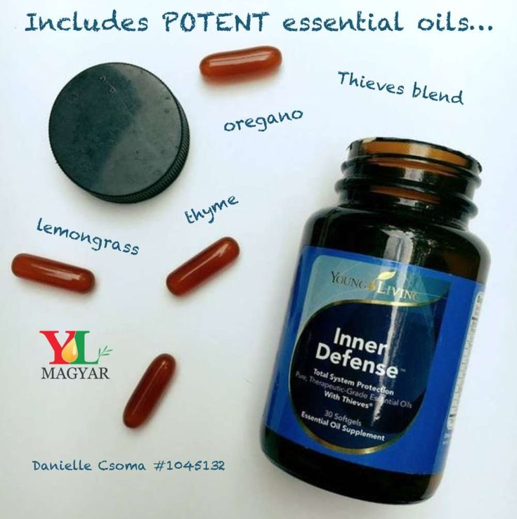 -Oregano, Thyme, Lemongrass, and the Thieves blend are all found in Young Living's Inner Defense supplement! It is great to add to everyone's daily regimen.