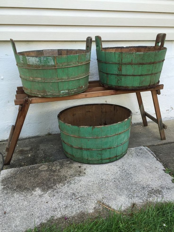 Primitive Antique Wood Wash Tubs Old Green Paint in Antiques, Primitives | eBay