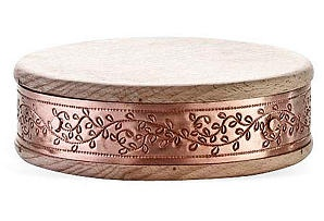 One Kings Lane - The Mediterranean Kitchen - 6 Round Cutting Board, Copper Leaves