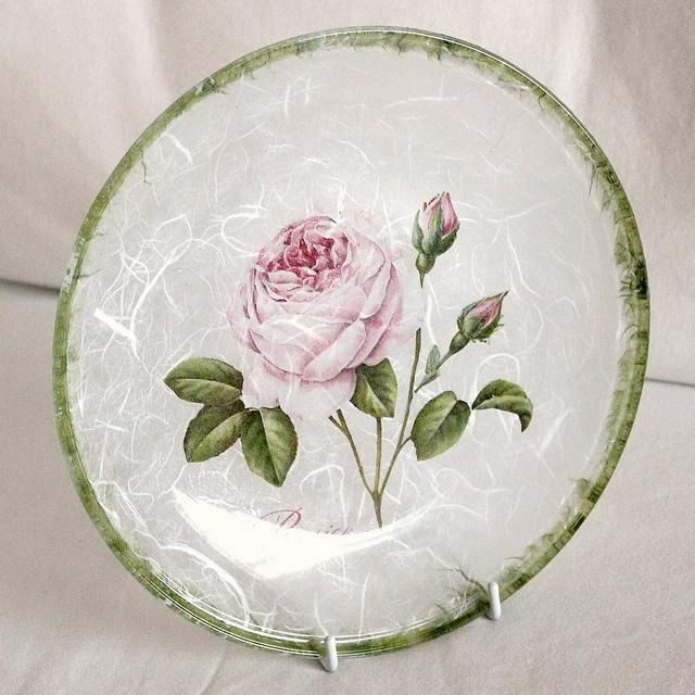 glass plate - decoupage