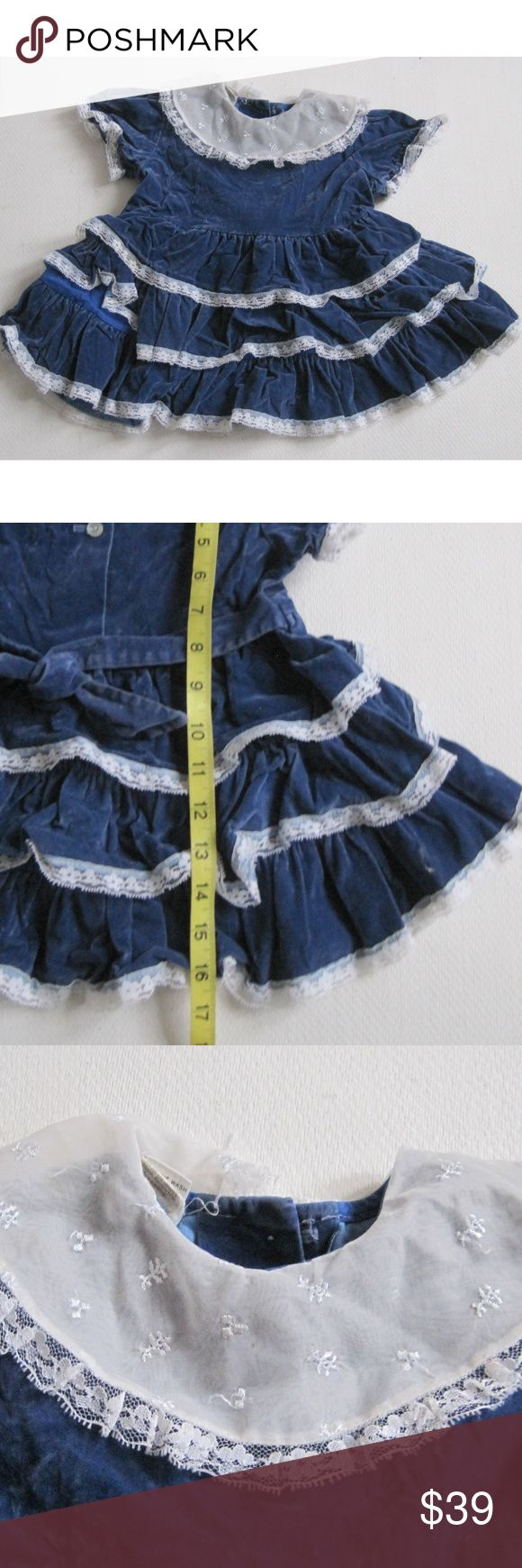 SEARS Vintage Girl Dress Sz 4T Blue Velour Tiered Vintage SEARS Baby Girl Dress   Size: 4T  Condition: very good vintage  A3220BabyzkEE Sears Dresses Formal