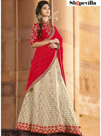 Off White Colour Jacquard Silk Lehenga Choli-6916
