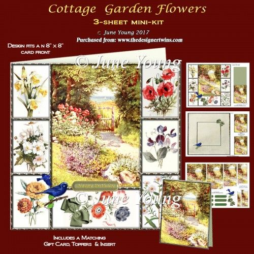 Cottage Garden Flowers - 3-Sheet Mini-Kit : The Designer Twins ...where creativity encounters quality and value