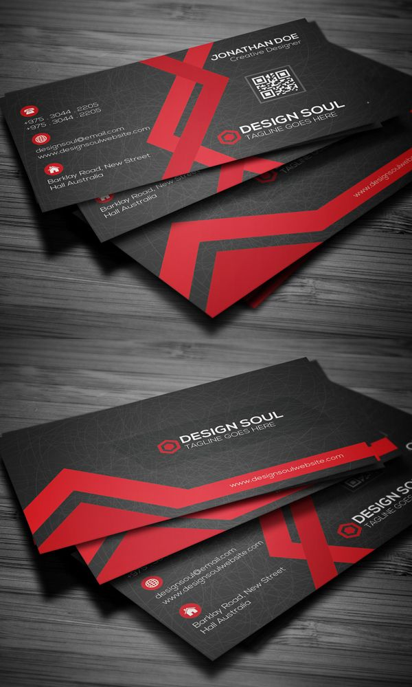 Red And Black Creative Business Card Business Cards Design