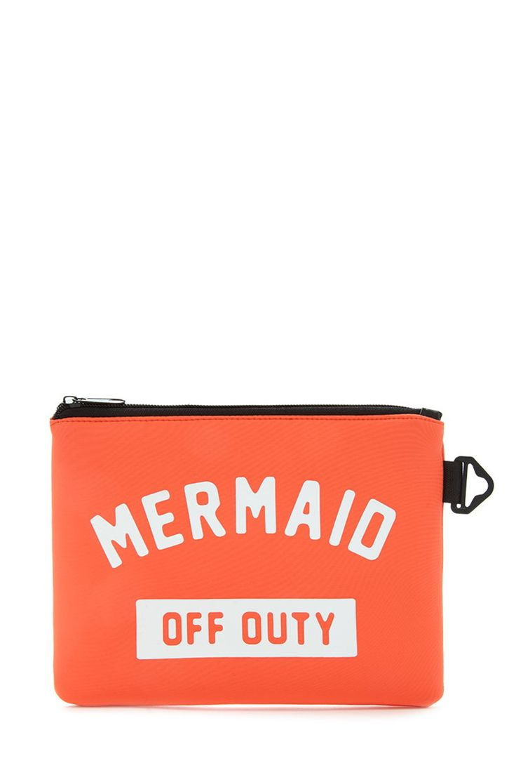 """A scuba knit pouch featuring a """"Mermaid Off Duty"""" graphic, zippered top, and key clip at the side."""