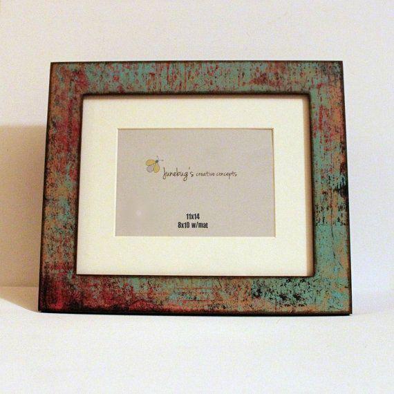 11x14 8x10 Mat Wood Photo Frame Oxidized Turquoise by JunebugsCC