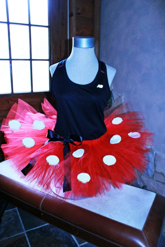 Adult Minnie Mouse Inspired Walt Disney Ladies Womens Race Half Marathon Run Disney Tutu Skirt  by HandpickedHandmade, starting at only $15.00!!!! Great deal on a fun running tutu skirt dress up costume. Red with white dots and black bow basic tutu. Can also add ribbon all around waist and more or less dots or change size of dots. Great with a Minnie shirt and ears. Handmade elastic waist for comfort and fit that will not fall down while you are active. Order to wear at waist or hips.