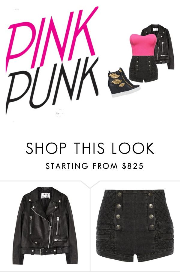 """pink punk"" by carolinaborgasimoes on Polyvore featuring Acne Studios, Pierre Balmain and Giuseppe Zanotti"