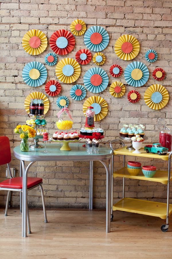 Seven Springtime Dessert Tables..  I just like the wall decorations!  We could use black for the large circle and then pink, teal and white for the inner circles  for decorations!