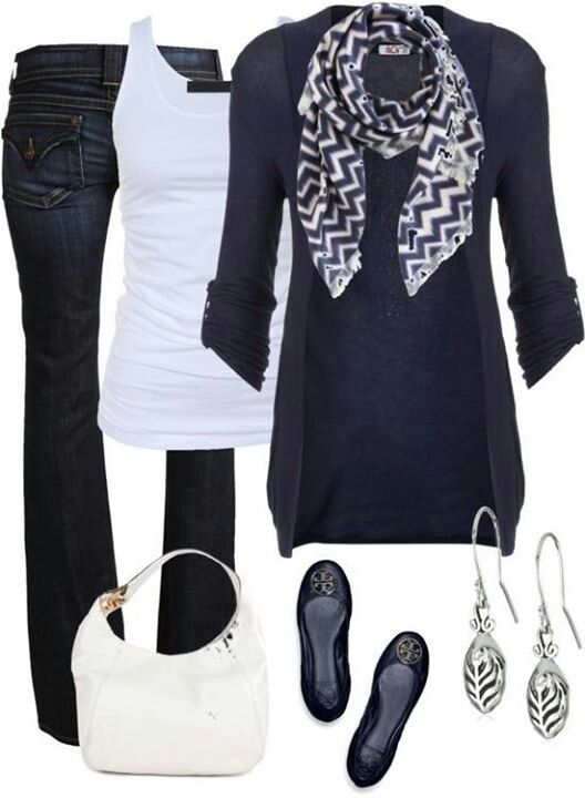 I love to wear Navy! Love this entire outfit, except the scarf. Please do not send scarfs...