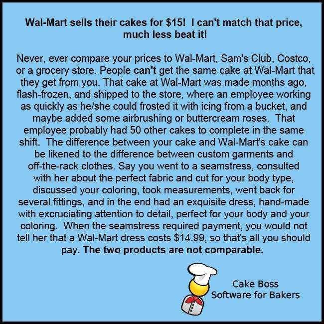 Your cakes are worth more than a Wal-Mart cake!