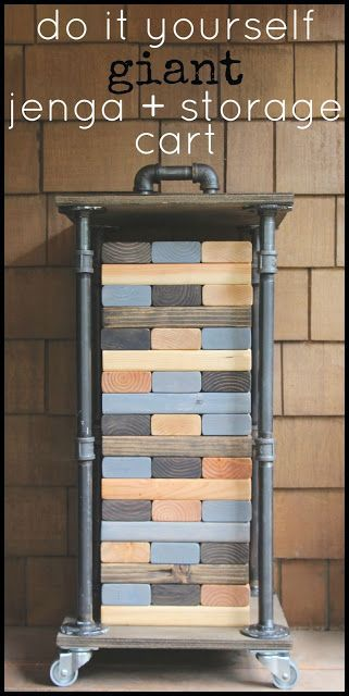 DIY Projects - Outdoor Games - Do It Yourself Giant Jenga Backyard Game and Rolling Industrial Storage Cart DIY Tutorial via My Sweet Savannah