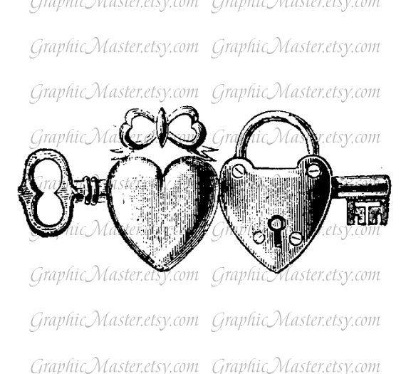 Valentine Love clé coeurs serrure numérique par GraphicMaster