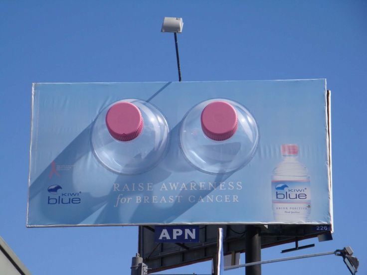 Kiwi Blue billboard for Breast cancer awareness
