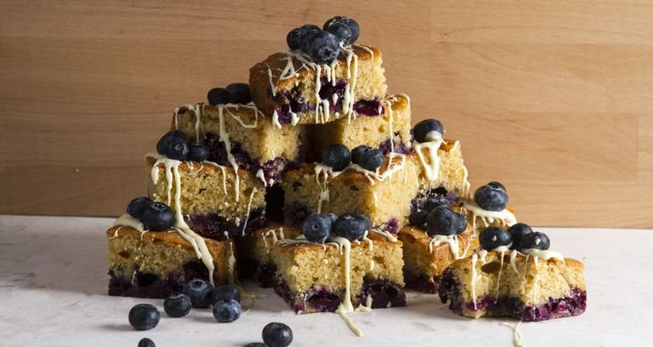 Scrumptious orange blueberry cake squares by chef Akis. The perfect sweet to accompany your morning coffee, tea or just to snack on any time of day.