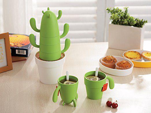 Amazon.com: Estaly Stackable Cactus Plant Mugs Set for Coffee or Tea. Cute Southwestern Decor: Kitchen & Dining