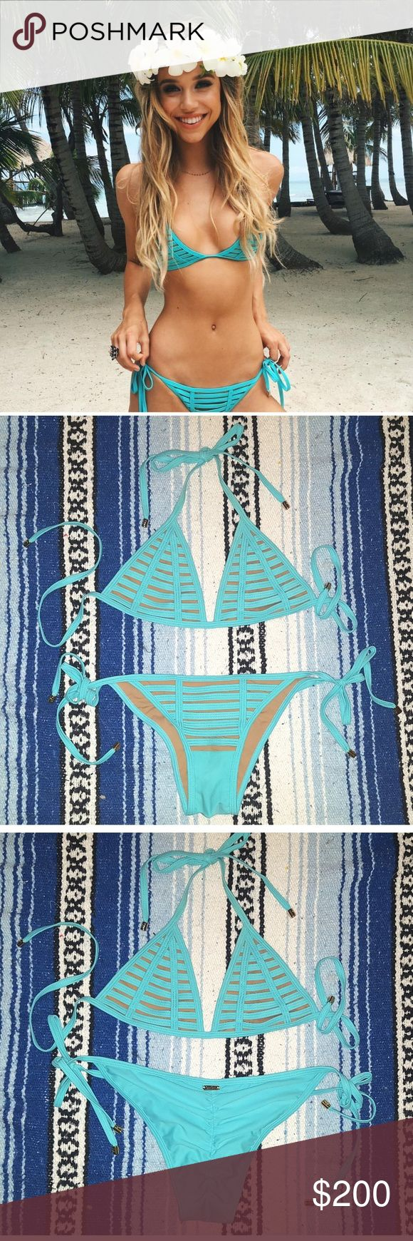 Beach Bunny Swimwear bikini Aqua color Strappy bikini, skimpy bottoms.  Brand new without tags. Listing is for both pieces. Beach Bunny Swim